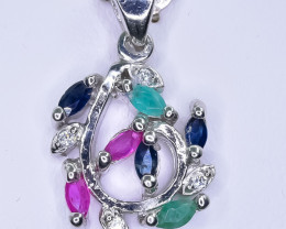 15.63 Crt Natural Ruby Emerald And Sapphire 925 Sterling Silver