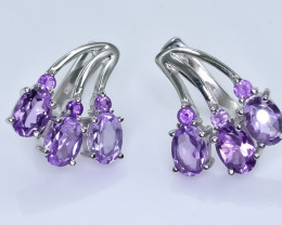 36.43 Crt Natural Amethyst 925 Sterling Silver Earrings