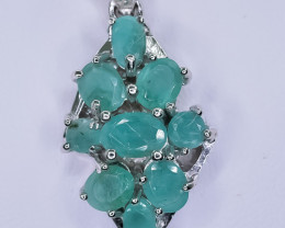 33.09 Crt Natural Emerald 925 Sterling Silver Pendant