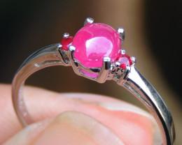 Ruby Cab w/ Sapphires in Rhodium