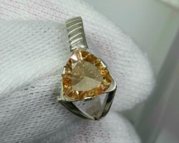 10.00 Carat citrine 925 Silver Ring, 9x9x4mm.