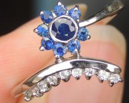 Sapphires in Rhodium Ring