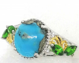 Persian Turquoise, Chrome Diopside and Zircon Ring 3.00 TCW
