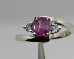 Natural Kashmir Corondum Sapphire  and CZ Ring.