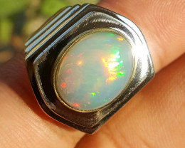 Natural Multi fire Opal Gents Ring.