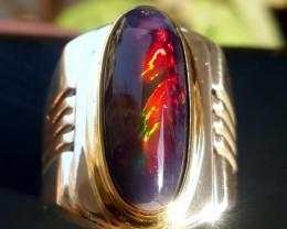 Gorgeous Natural Black Opal Men Ring.