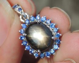 5.96cts Star Sapphire in Rhodium Pendant