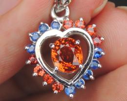 Mandarin Spessartite w/  Sapphire in Rhodium Pendant