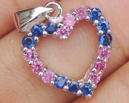 Sapphires in Rhodium Pendant