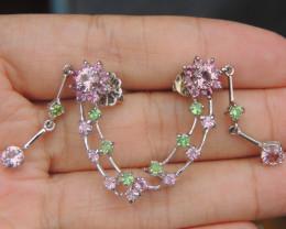 Pink Tourmaline w/ Tsavorite in Rhodium Pendant
