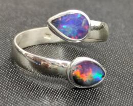 Anel prata 950 aberto com opalas solida azul forma gota