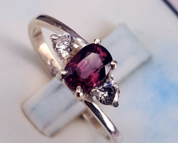 Natural Pinkish Red Spinel with CZ Ring.