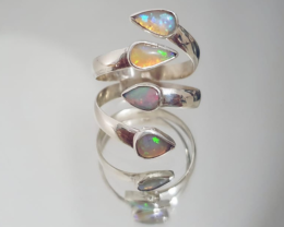 Double open 950 silver ring with solid drop shape opals