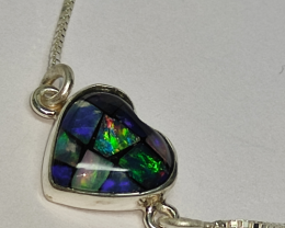 950 silver necklace with heart shaped mosaic opal pendant