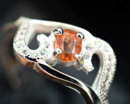 Natural top extremely Rare unusual Triplite ,CZ 925 Silver Ring