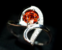 Natural top color spessertite garnet 925 Silver ring