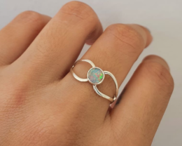Silver ring 950 hollow detail with solid round shape opal
