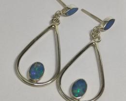 Brincos em prata  950 vazado  com opalas sólida forma oval e navete