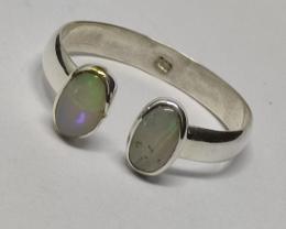 Anel em prata 950 aberto com opalas sólida forma oval