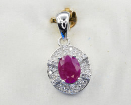 Heated Natural Ruby and 925 Silver Pendant, Elegant Design