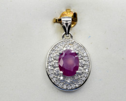 Natural Ruby and 925 Silver Pendant, Elegant Design