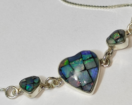 950 silver bracelet with heart-shaped mosaic opals