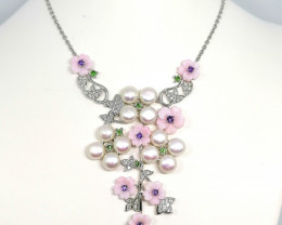 Mother of Pearl, Freshwater Pearl and Multi-Gemstone Necklace