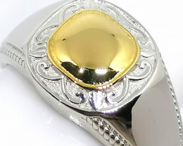 Gents Signet Ring in Gold and Platinum over Sterling Silver