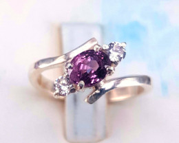 Amazing Natural Spinel with CZ Ring.