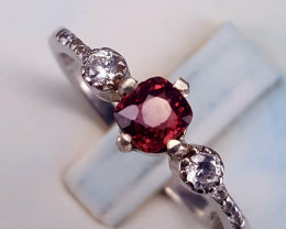 Gorgoues Natural Spinel with CZ Ring.