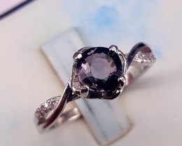 Natural Gray Spinel with CZ Ring.