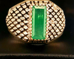 Hand crafted Emerald men Ring.