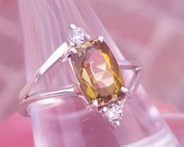 Natural Tourmaline and CZ Ring.