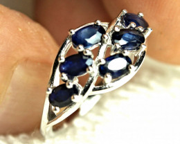 15.90 Tcw. Sterling Silver, Sapphire Ring - Size 8.0 US