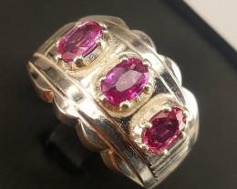 Natural Pink Sapphire Men Ring.