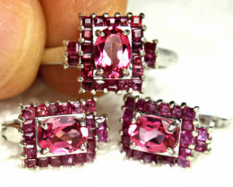 85.51 Tcw. Topaz Ruby Ring and Earrings / Sterling Silver