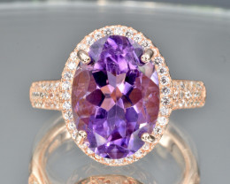 Natural Amethyst  Ring  with Cubic Zirconia and Silver925( pink gold coated
