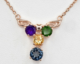 Natural Amethyst, Blue Topaz,Chrome,Citrine  Necklace  Silver925( pink gold