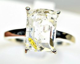 Natural bubble moving fluorescent Petroleum diamond Quartz  925 Silver Ring