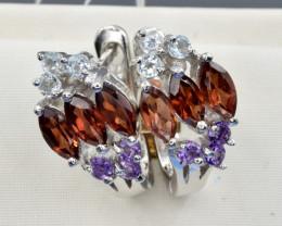 Natural Rhodolite, Amethyst, Topaz and 925 Silver Earring, Elegant Design