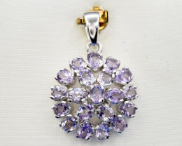 Natural Amethyst and 925 Silver Pendant, Elegant Design
