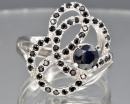 Heated Natural Dark Sapphire and 925 Silver Ring