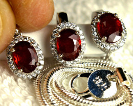 73.22 Tcw. Ruby Earrings, Pendant, Chain - Gorgeous