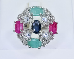 38.33 Crt Natural Ruby Emerald & Sapphire 925 Silver Ring