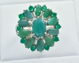 31.62 Crt Natural Emerald 925 Silver Ring