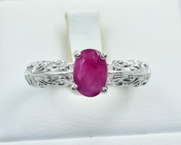 23.06 Crt Natural Ruby 925 Silver Ring