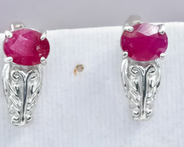 23.43 Crt Natural Ruby 925 Silver Earrings