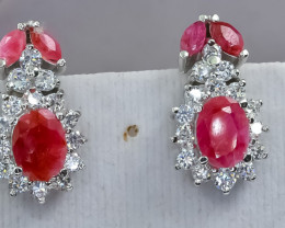 42.93 Crt Natural Ruby 925 Silver Earrings