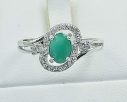 15.31 Crt Natural Emerald 925 Silver Ring