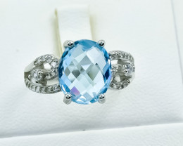 19.11 Crt Natural Topaz 925 Silver Ring